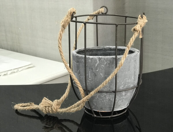 concrete hanging plant pot